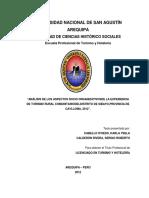 Análisis de Los Aspectos Socio Organizativos de La Experiencia de Turismo Rural Comunitario Del Distrito de Sibayo
