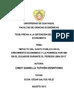 Tesis- Impacto Del Gasto Público en El Crecimiento Económico y La Pobreza Por Nbi en El Ecuador
