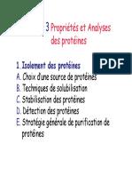 Ch.3 Propriétés Et Analyses Des Protéines