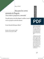 La política pública para los cerros orientales de Bogotá: