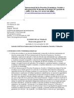 Aplicación Del Pacto Internacional de Los Derechos Económicos, Sociales y Culturales, Observación General 18, El Derecho Al Trabajo