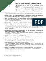 GUÍA PARA EL EXÁMEN DE ESPIRITUALIDAD FUNDAMENTAL III