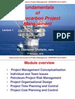 Fundamentals of Petroleum Project management