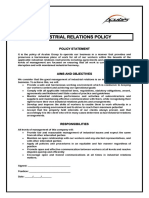 Industrial Relations Policy Example Template