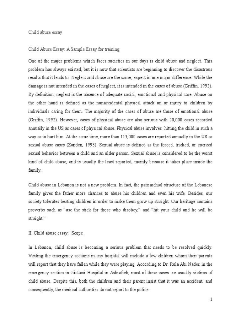 Child abuse essay child abuse child neglect
