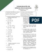 Autoevaluación de Sistemas de Ecuaciones Mat B 4º ESO