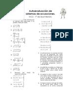 Autoevaluación de Sistemas de Ecuaciones MCS 1º
