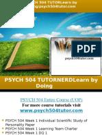 PSYCH 504 TUTOR Learn by Doing/psych504tutor.com