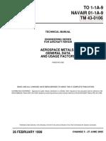 TM-43-0106 - TECHNICAL MANUAL ENGINEERING SERIES FOR AIRCRAFT REPAIR  AEROSPACE METALS - GENERAL DATA AND USAGE FACTORS
