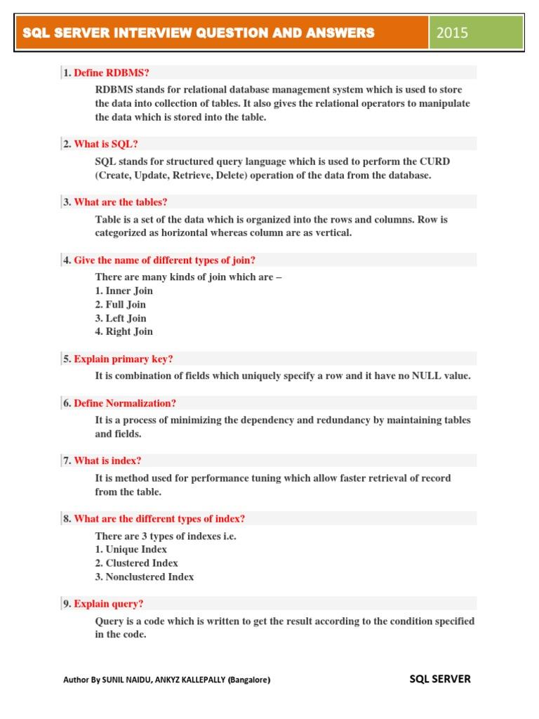 SQL Top 50 Interview Q & A | Database Index | Sql