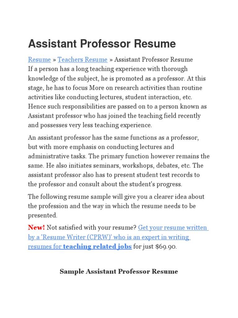 education assistant professor resume teacher education