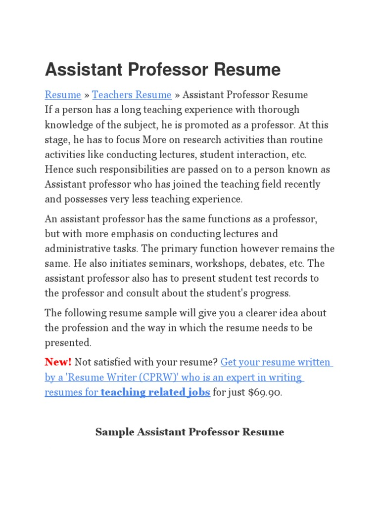 sample education assistant professor resume  professor