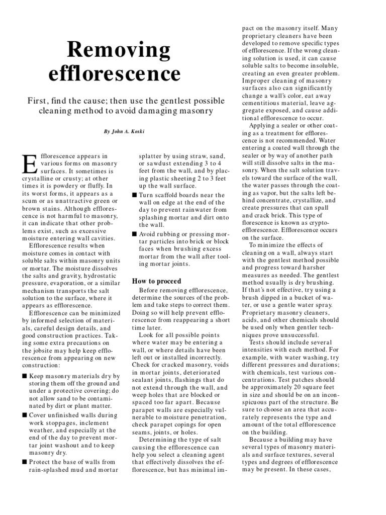 Removing Efflorescence | Sodium Hydroxide | Masonry