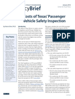 Costs of Texas' passenger vehicle safety inspection