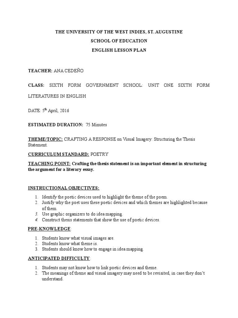 assessment lesson plan u1 | Poetry | Essays