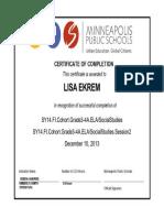 cohort certificate
