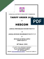HESCOM Tariff Policy AR 2016