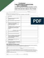 Zambia Motorsports Association Medical Form