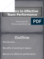 Barriers to Effective Team Performance