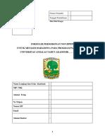 Formulir Pendaftaran MAhasiswa Baru Non BPPDN Program Pascasarjana Universitas Andalas