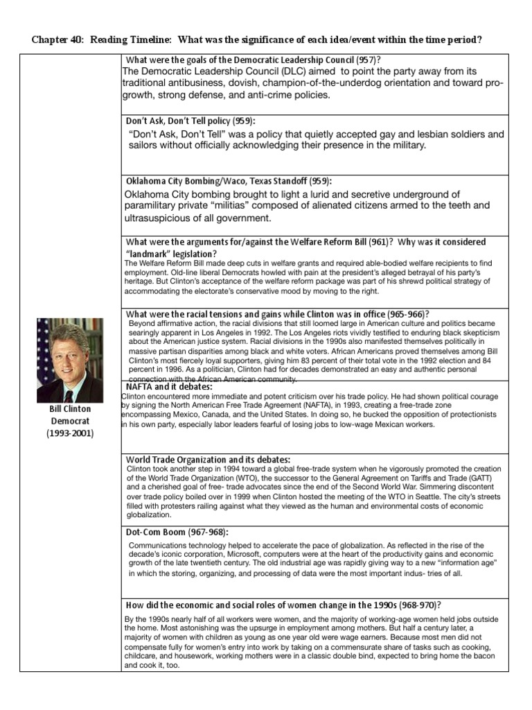 Chapter 40 Reading Timeline Bill Clinton United States Government