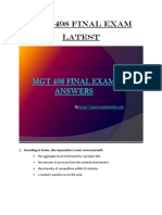 MGT 498 Final Exam (Latest) Assignment