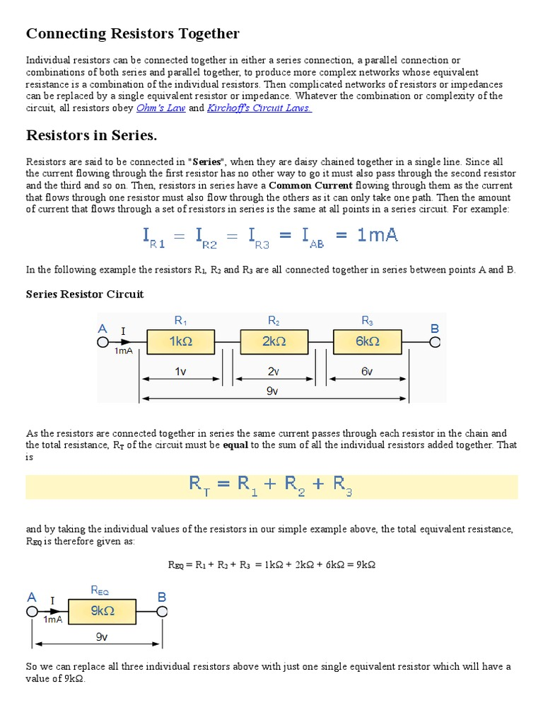 Resistors In Series And Parallel Circuits Resistor Circuit How Can The Total Resistance Of A