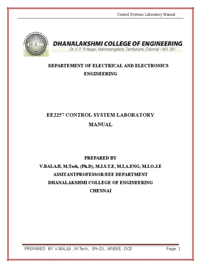 control system lab manual inductor feedback rh scribd com control system lab manual pdf control system lab manual for eee vtu