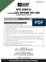 NTSE Sample Paper SAT Paper
