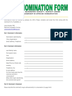 AFRICA 2016 Nomination Form
