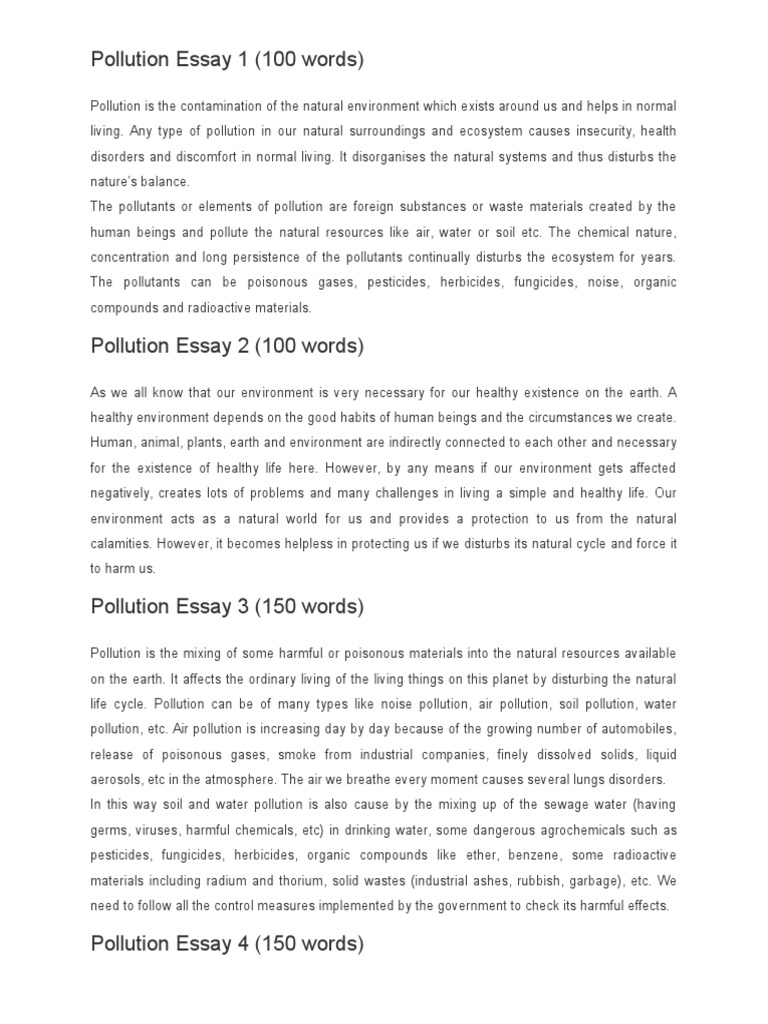 Essay on pollution in 100 words