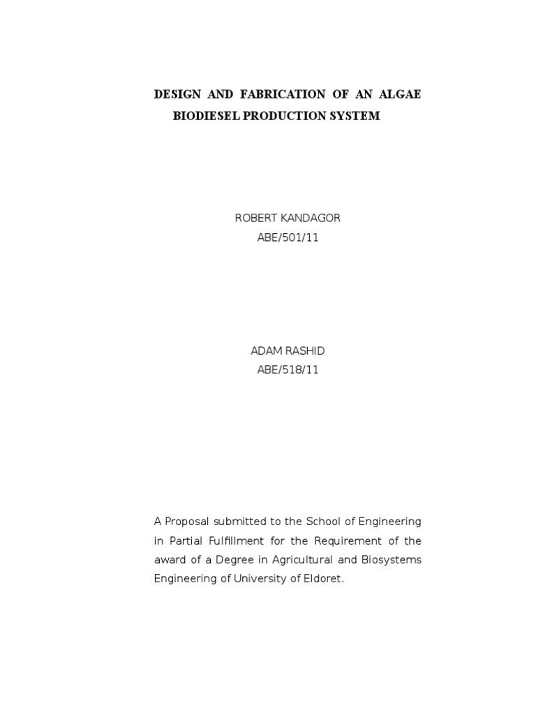 project proposal 9th algae fuel biodiesel