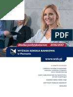 Informator 2016 - Studia Podyplomowe - Wyższa Szkoła Bankowa w Poznaniu