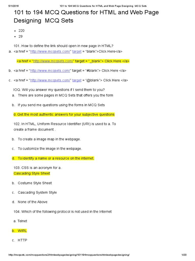 html-mcqs | Html Element | Html