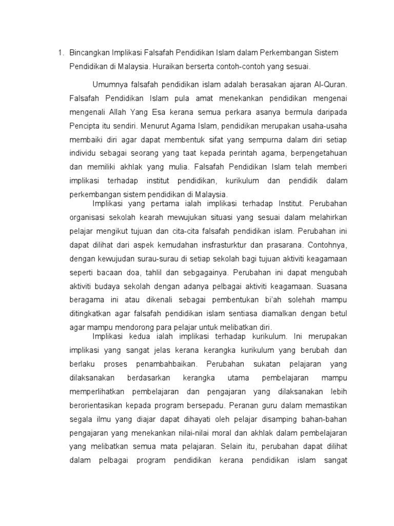 Bincangkan Implikasi Falsafah Pendidikan Islam Dalam Perkembangan Sistem Pendidikan Di Malaysia
