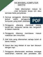 Peraturan Makmal Komputer Smkpw