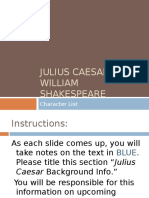 Julius Caesar Introduction, Character Predictions