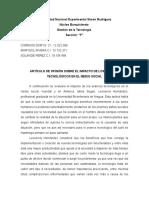 ARTÍCULO DE OPINIÓN SOBRE EL IMPACTO DE LOS AVANCES TECNOLÓGICOS EN EL MEDIO SOCIAL