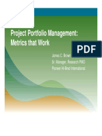 Project portfolio management metrics for work