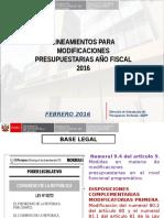 2. Lineamientos Para Modificaciones Presupuestarias Año Fiscal 2016