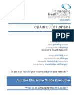 EHL Executive Team Application Information - Chair Elect (May 2016)
