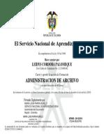 Certificado de Administración de Archivo