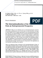 The Inter Nationalization of the Firm From an Entrepreneurial Perspective