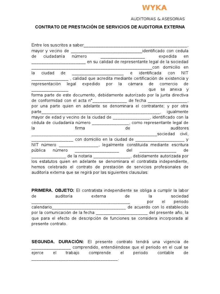 Contrato de Prestación de Servicios de Auditoria Externa
