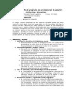 Ejercicio de Diseño de Programa de Promoción de La Salud en Instituciones Educativas