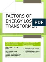 Factors of Energy Loss in Transformer