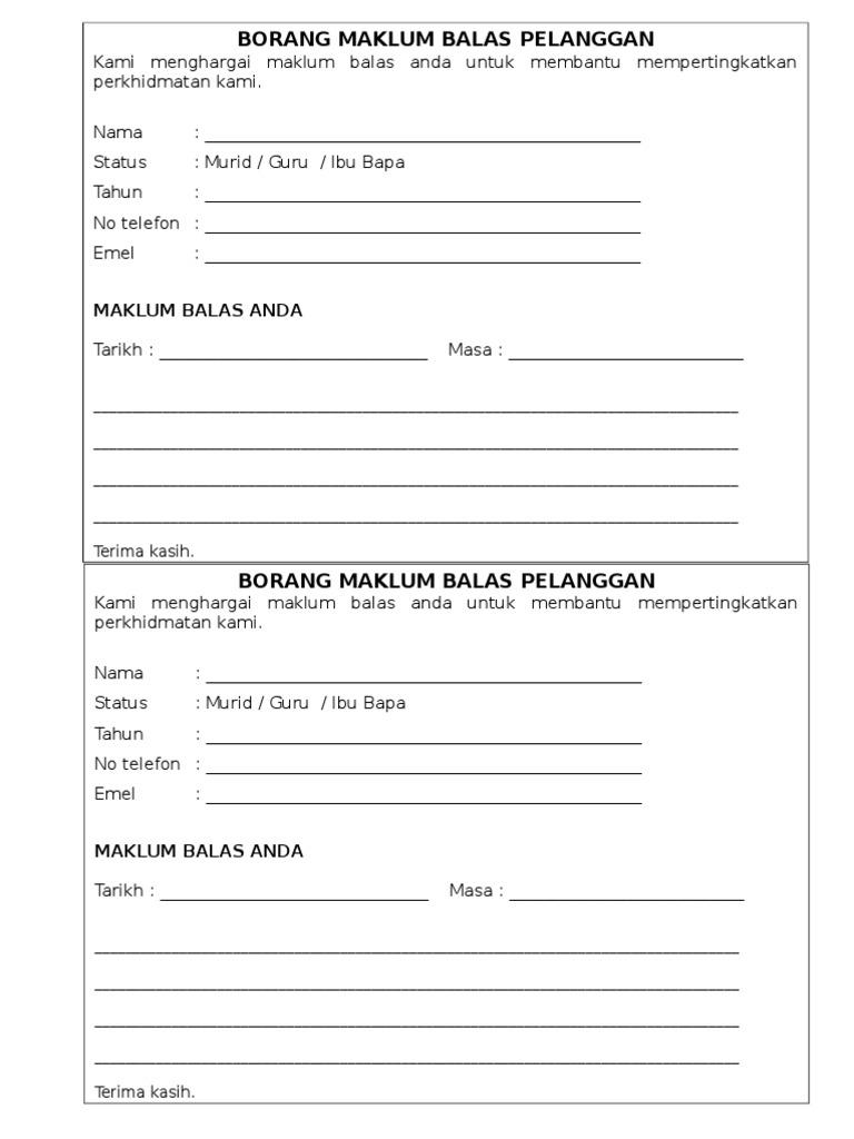 Borang Maklum Balas Pelanggan Restoran