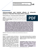 Anticonvulsant and toxicity effects of ethanolic extract of Thevetia Peruviana (Pers.) leaves