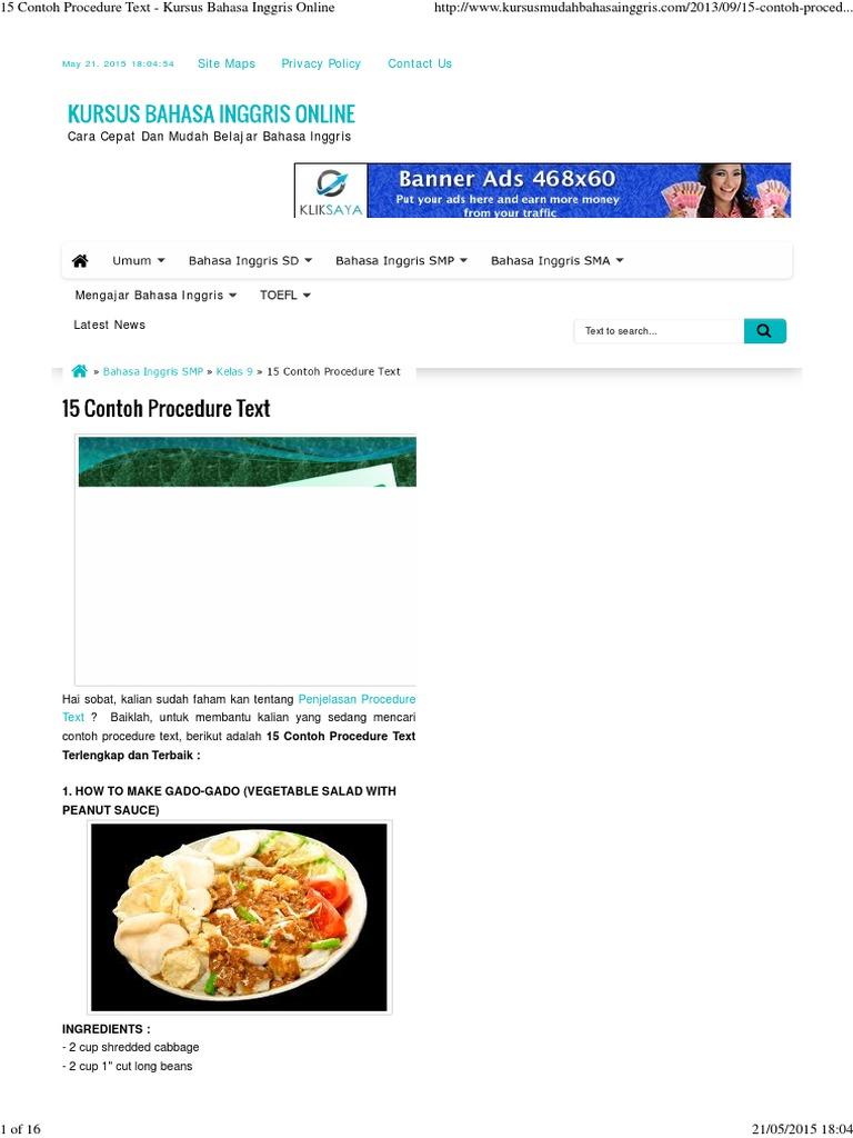 15 Contoh Procedure Text Kursus Bahasa Inggris Online Spoon