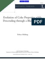 2005 Evolution of Coke Properties While Descending Through a BF